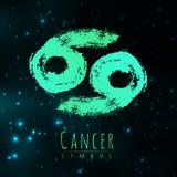 För zodiaktecken för vektor abstrakt cancer på en mörk kosmisk bakgrund stock illustrationer