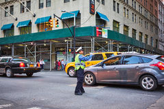 Föra trafik i New York City Arkivbild