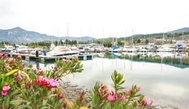 förankrade marinayachter Segelbåthamnen, förtöjde många seglar yachter i havsporten, modern vattentransport, sommartidsemester Royaltyfri Foto