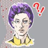 Förargad kvinnaframsida för vektor med purpurfärgat kort hår och den gula skjortan stock illustrationer