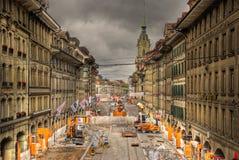 Förbättringsarbete på den Marktgasse gatan Royaltyfria Foton