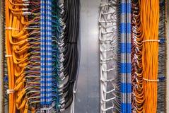 Förband kabeln till och med terminalerna i beslagcabinen arkivfoto
