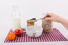 Förbered sädesslag för sund frukost Arkivbild
