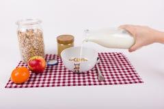 Förbered sädesslag för sund frukost med mjölkar Fotografering för Bildbyråer