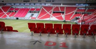 Förbereda avsnittet i stadion av Debrecen royaltyfri fotografi