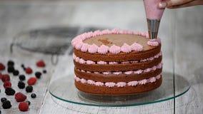Förbereda danandechokladkakan med bär Handen för kvinna` s dekorerar kakan lager videofilmer
