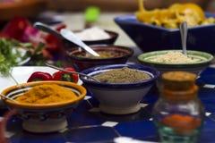Förbereda ett mål med kryddor Arkivbilder