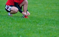 förbereda fotboll till arkivfoton