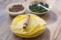 Förbereda kött- och spenatkräppar Royaltyfria Foton