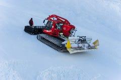 Förbereda lutningen för Ski Race Arkivfoto