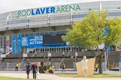 Förbereda Rod Laver Arena för australier öppna Royaltyfria Bilder