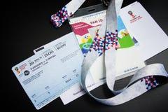 Förbereda sig att skriva in matcher av förbundkoppen i 2017 och världscupen 2018 i Ryssland Fanuppsättning - t Fotografering för Bildbyråer