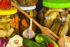 Förbereda sura gurkor i köket gurkor skakar inlagt Hem- grönsaker på burk Liv på lantgården Royaltyfri Bild