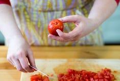 Förbereda tomater. Royaltyfria Foton