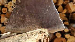 Förbereda vedträt som hugger av trä med en yxa Royaltyfria Foton