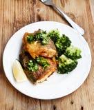 Förberedd forell med broccoligarnering Royaltyfri Foto