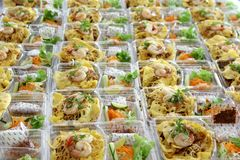 Förberedd mat i plast- ask Arkivbild