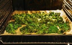 Förberedda grönkålchiper i ugnen arkivbild