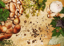 Förberedelse av champinjoner för att salta med kryddor på ett träbräde Arkivfoto