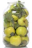Förberedelse av inlagda äpplen Arkivfoto