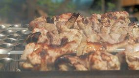 Förberedelse av kött på kol i gatan Höna och griskött strängas på metallben Moving kamera lager videofilmer