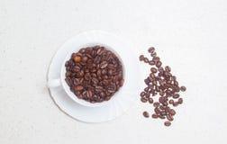 Förberedelse av kaffe white för bönakaffekopp royaltyfri bild