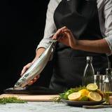Förberedelse av makrillen av kocken, på en svart bakgrund med citroner, limefrukter royaltyfria bilder
