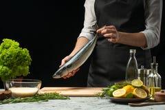 Förberedelse av makrillen av kocken, på en svart bakgrund med citroner, limefrukter arkivbild