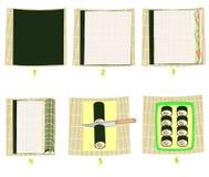 Förberedelse av sushi i bilder Steg-f?r-steg anvisning Medborgarejapankokkonst olika rullar - lodlinjefoto Havs- och risrullar oc stock illustrationer