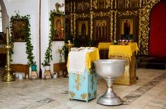 Förberedelse för dop i den ortodoxa kyrkan Royaltyfri Fotografi