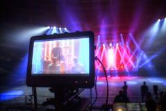 Förberedelse för en konsert fotografering för bildbyråer