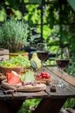 Förberedelse för matställe med ost, rött vin i trädgården Royaltyfri Fotografi