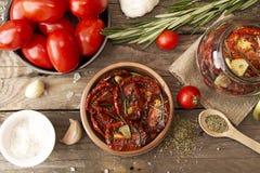 Förberedelse torkade tomater Fotografering för Bildbyråer