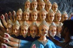 Förberedelser av den nio dag gudinnafestivalen i Indien Arkivfoto