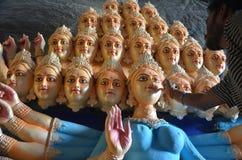 Förberedelser av den nio dag gudinnafestivalen i Indien Arkivfoton