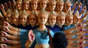 Förberedelser av den nio dag gudinnafestivalen i Indien Royaltyfria Foton