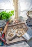 Förberedelser för tagliatelle i det soliga köket royaltyfria bilder