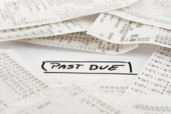 Förbi - förfallna räkningar som ska betalas Arkivbilder