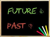 Förbi och i motsats till för tecken framtid kontra och som tecken Fotografering för Bildbyråer