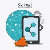 Förbind den sociala nätverkssymbolen för kommunikationer Arkivfoto