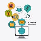 Förbind den sociala nätverkssymbolen för kommunikationer Royaltyfria Bilder