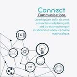 Förbind den sociala nätverkssymbolen för kommunikationer Arkivbild