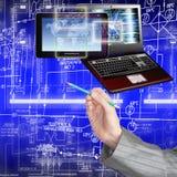 förbind Ny datateknik för utveckling anslutning Arkivfoto