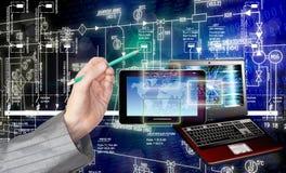 förbind Ny datateknik för utveckling Kommunikation Arkivbild
