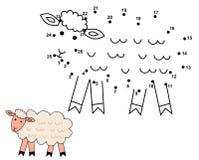 Förbind prickarna för att dra de gulliga fåren Arkivbilder