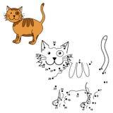 Förbind prickarna för att dra den gulliga katten och för att färga den Royaltyfri Bild