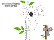 Förbind prickarna och dra den gulliga tecknad filmkoalan Bildande lek f royaltyfri illustrationer