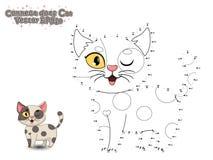 Förbind prickarna och måla den gulliga tecknad filmkatten Bildande lek fo royaltyfri illustrationer