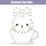 Förbind prickarna vid den bildande leken för nummerbarn Tryckbar arbetssedelaktivitet Djurtema stock illustrationer