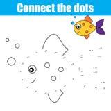 Förbind prickarna vid nummer som bildande barn spelar, ungeaktivitet som färgar sidan vektor illustrationer